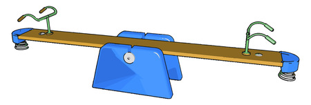 A seesaw toy is a long narrow board supported by a single pivot point most commonly located at the midpoint between both ends vector color drawing or illustration Illustration