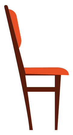 Wooden chair with brown cushioned neck rest and seat vector color drawing or illustration