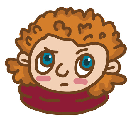 Face of a blue eyed boy with brown curly hair vector color drawing or illustration Çizim