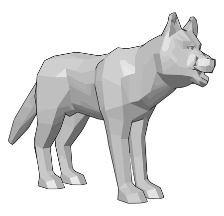 A white colored dog or wolf toy looking so scary and dangerous vector color drawing or illustration