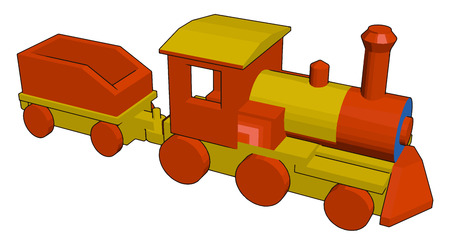 A toy train engine used by kids for playing It runs on two horizontal track vector color drawing or illustration