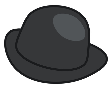 A black color hat traditionally been worn with semi-formal and informal attire vector color drawing or illustration