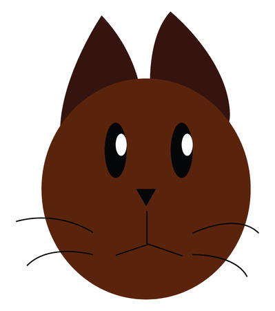 Face of a little brown cat with black mustaches vector color drawing or illustration