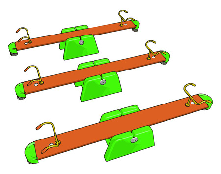 Three seesaw toys kept parallel in a playground where children used to play vector color drawing or illustration Ilustração
