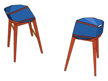 Two blue colored stools for sitting purpose with having four legs vector color drawing or illustration