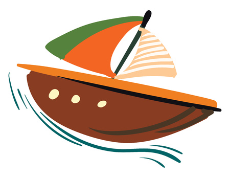 Painting of a colorful sailing boat travelling on the sea vector color drawing or illustration