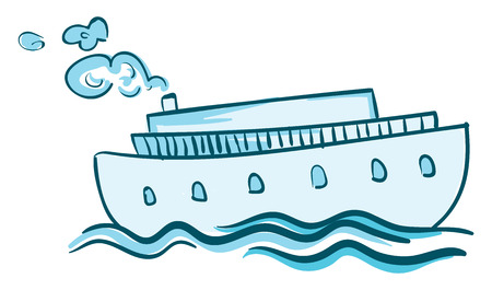 A blue steam ship is sailing in the blue water vector color drawing or illustration Illusztráció