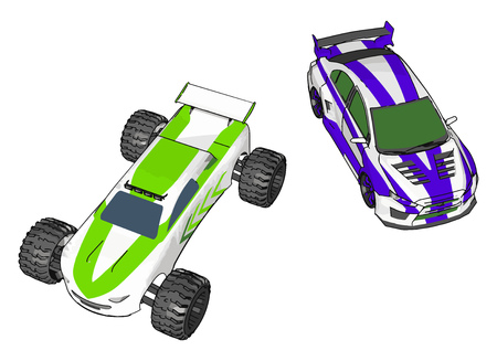 Two small toy car with green and blue in color kept on ground looking so cute vector color drawing or illustration Illusztráció