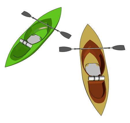 Sea kayaks are used around the world for marine journeys It is river paddler vector color drawing or illustration Ilustração