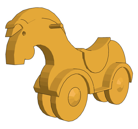Infants used to enjoy riding on this wheeled toy horse under supervision of their parents vector color drawing or illustration