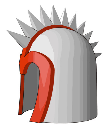 A defensive covering for the head old military equipment for protection from swords spears arrows vector color drawing or illustration Imagens - 123452178