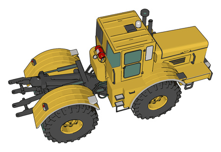 A farm vehicle that provides the power and traction Agricultural implements may be towed behind or mounted on the tractor vector color drawing or illustration Illustration
