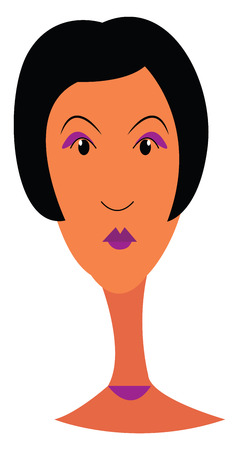 Portrait of a lady with short hair and beautiful purple make up vector color drawing or illustration Ilustrace