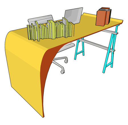 Many tables are made of wood or wood-based products; some are made of other materials including metal and glass vector color drawing or illustration