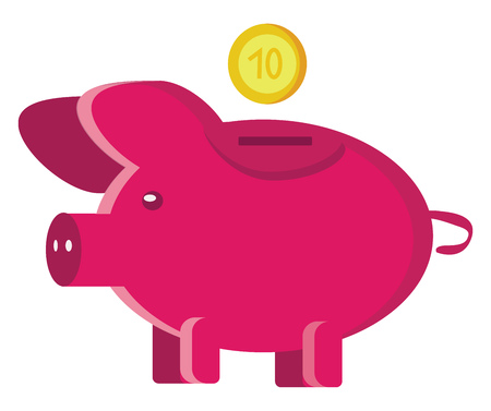 A pink piggy bank with a dropping coin value of ten in the background depicting investment vector color drawing or illustration