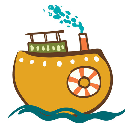 Painting of a steam ship with a red and white life preserver vector color drawing or illustration