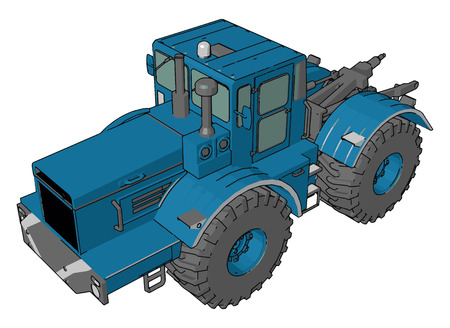 It is used for the purposes of hauling a trailer or machinery used in agriculture or construction vector color drawing or illustration