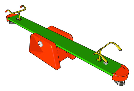 This playground seesaws toy usually have handles for the riders to grip as they sit facing each other vector color drawing or illustration