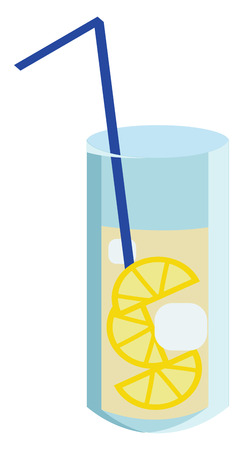 A glass of lemon drink with ice is served with a straw vector color drawing or illustration