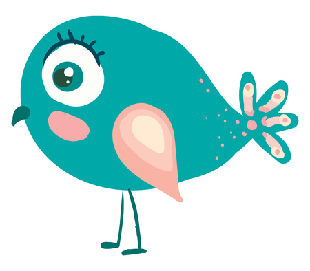 A blue bird with colorful wings and designer tail in the back vector color drawing or illustration