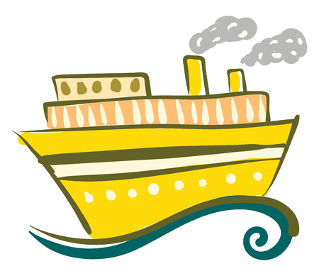 A yellow steam ship with windows is travelling on the sea vector color drawing or illustration Illusztráció