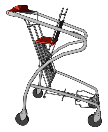 It is a folded cart or trolley made up of durable steel with having four wheels to carry vector color drawing or illustration Ilustração