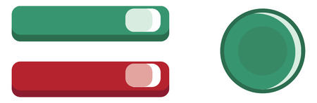 Three different color manual buttons of various functionality vector color drawing or illustration