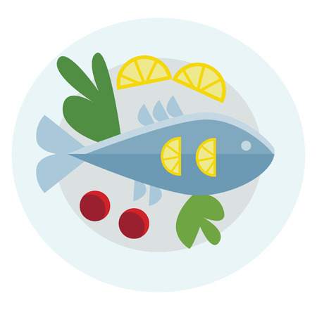 A food platter with whole fish and side of green and vegetables vector color drawing or illustration