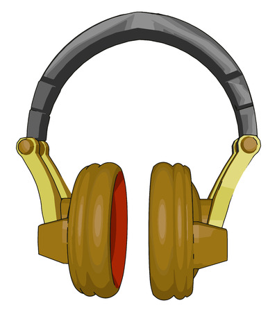 Head phone is modern audio device which play background sound from PC I phone or DVD player vector color drawing or illustration