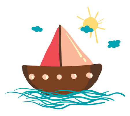 A sailing boat floating on the water under the bright beautiful sunny sky vector color drawing or illustration