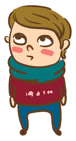 A boy wearing red designer sweater blue pants and neck scarf is looking at the sky vector color drawing or illustration
