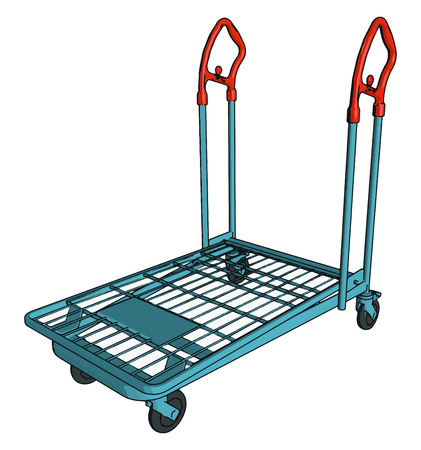 Trolley a small vehicle with four wheels that you push or pull to transport luggage in airport etc vector color drawing or illustration Illustration