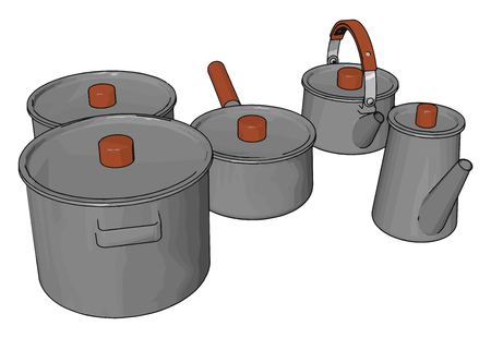 The Kitchen wares like saucepan kettle etc with covering lid to store meal in it vector color drawing or illustration