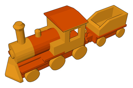 A yellow colored toy locomotive engine Very attractive and playful vector color drawing or illustration Ilustração