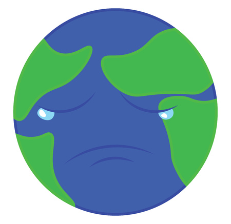 Earth is sad because of all the pollution and ecological disbalance vector color drawing or illustration