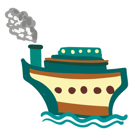 Painting of a brown and blue steam boat ship floating in the water vector color drawing or illustration