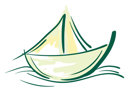 Painting of sailing boat with a green and yellow color vector color drawing or illustration Illusztráció