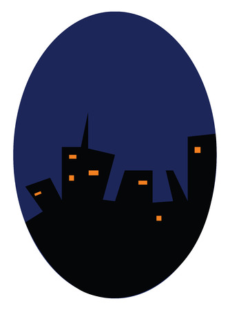 Nigh time view of urban skyline with high rise buildings vector color drawing or illustration