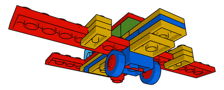 It is a type of multicolored block aeroplane toy which is to be properly arranged before playing vector color drawing or illustration Иллюстрация