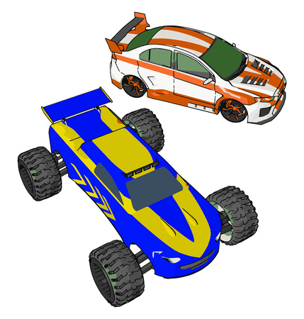 The toy car may be remote operated or self driving battery operated in nature vector color drawing or illustration