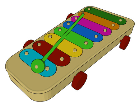 A multicolored attractive toy glockenspiel looks like piano used for child play vector color drawing or illustration Ilustração