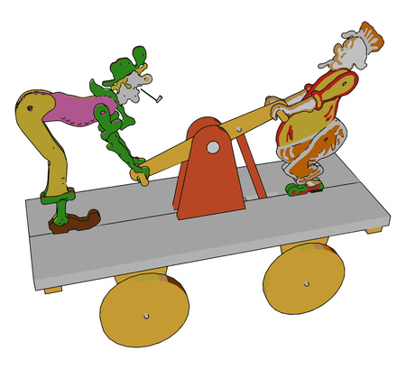 An amazing toy having wheels cardboard and two clowns standing on that cardboard vector color drawing or illustration