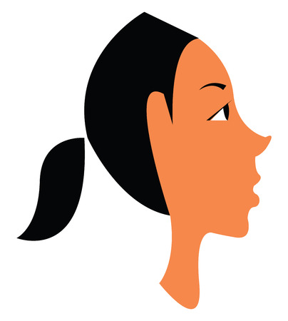 A brown girl in her long black ponytailed hair style vector color drawing or illustration Stock Illustratie