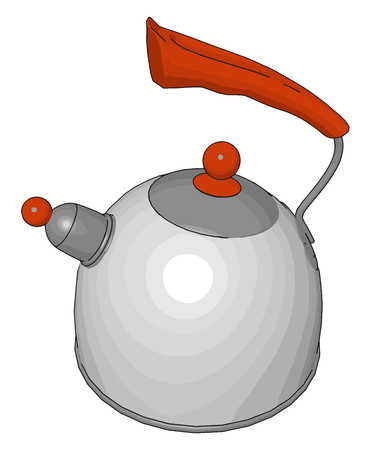 A kettle or a teakettle is a type of pot specialized for baling water with a lid vector color drawing or illustration
