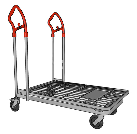 A transport cart a table on four small wheels with one shelf under it used for serving food or drinks vector color drawing or illustration
