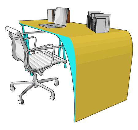 An office chair is a type of chair that is designed for use at a desk in an office It is usually a swivel chair with a set of wheels for mobility and adjustable height vector color drawing or illustration