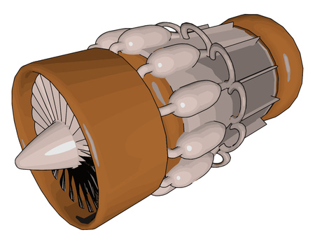Jet engine is type of reaction engine discharging a fast moving jet that generates thrust by jet propulsion vector color drawing or illustration