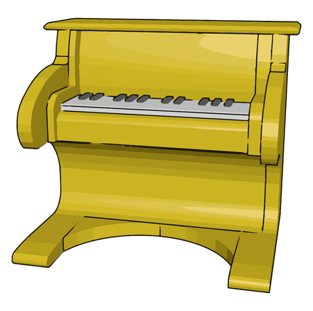 A pianola toy for child playing having the piano action via pre-programmed music recorded on perforated paper metallic rolls vector color drawing or illustration Vetores