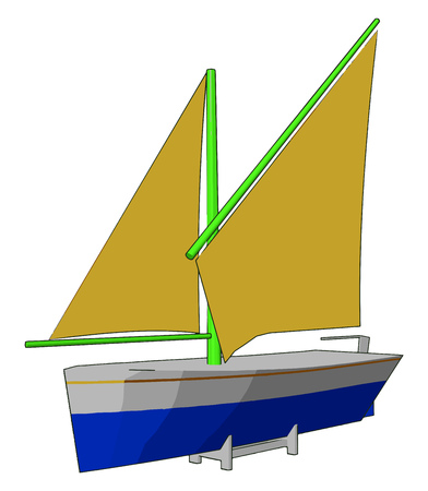 A sailboat or sailing boat is a boat propelled partly or entirely by sails smaller than a sailing ship vector color drawing or illustration
