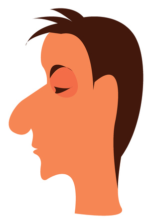 Side portrait of a boy with eyes closed vector color drawing or illustration